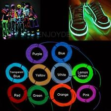 Blue 3m Neon LED Glowing EL Wire Strip Tube Lighting Up Party Decor +Controller