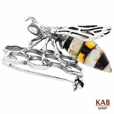 BALTIC AMBER GEMSTONE STERLING SILVER 925 JEWELLERY BEE BROOCH, KAB-218