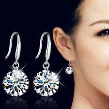 Elegant Fashion 925 Sterling Silver Women Crystal Rhinestone Ear Hook Earrings
