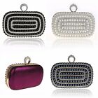 WOMENS DIAMANTE PEARL RHINESTONE CLUTCH BAG WEDDING BLACK BLUE SILVER MAGENTA
