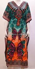 PLUS SIZE ETHNIC TEARDROP ABSTRACT STRIPE BUTTERFLY KAFTAN DRESS DARK GREEN 30