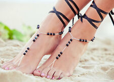 Hot Fashion  Barefoot Ribbon & Chain  Beach Foot Jewelry Anklet Ankle Chain 5UK