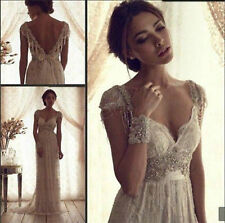 2017 New White/ Ivory Wedding Dress Vintage Lace Bridal Gown Size 6-8-10-12-14