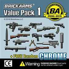 BRICKARMS Value Pack #1 Weapon Pack w/ Random CHROME for Lego Minifigures NEW