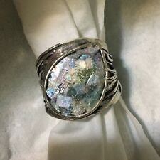 NWT OR PAZ  ROMAN GLASS STERLING SILVER 925 BOLD RING SZ 8 MADE ISRAEL