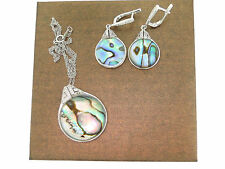 GORGEOUS STERLING SILVER ABALONE PENDANT NECKLACE & EARRINGS CUBIC JEWELRY LOT
