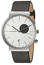 SKAGEN ANCHER MEN'S TITANIUM and LEATHER WATCH in GRAY with DUAL TIME SKW6319