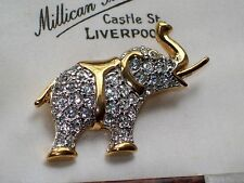 VINTAGE JEWELLERY SPARKLY CRYSTAL ELEPHANT BROOCH/PIN SHAWL SIGNED D'ORLAN