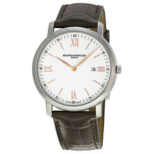 Baume and Mercier Classima Silver Dial Brown Leather Mens Watch 10181