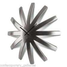 "New Modern Contemporary Brushed Stainless Steel Dome Wall Clock 18"" Diameter"