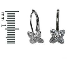 Dainty-Childrens-Babies Pave Clear CZ X Lever Back Hoop Earrings Rhodium Plated
