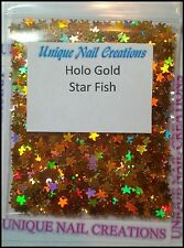 Solvent Resistant Holographic Gold STAR FISH~ Nail Art~ USA