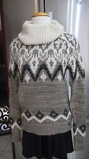 NEW ABERCROMBIE & FITCH TURTLE NECK SWEATER TAUPE CREAM BROWN LONG SLEEVE SZ XS
