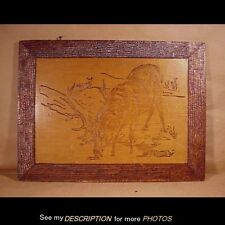 Antique 1908 Pyrography / Woodburning / Flemish Art Wall Plaque Bull Elk