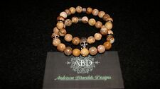 Set of Jasper Beads with Jet Black Rhinestone Silver Spacers SkullHead Bracelet