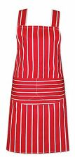 CHEFS APRON 100% COTTON CATERING WITH BIB POCKETS COOKING BBQ CHEF APRONS RED