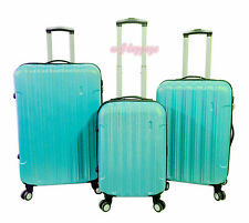 "Light Blue 3Pc 20""24""28""Hardside Spinner Lightweight Locking Rolling Luggage Set"