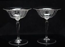 2x art deco crystal, Champagne Coupe glass, design A.D.Copier, Holland, Romanda