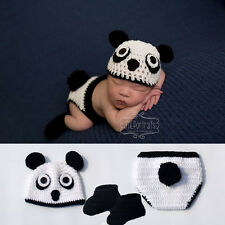 Crochet Panda Design BABY Photography Props Knitted Newborn Boys Animal Costume