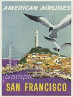VINTAGE SAN FRANCISCO AMERICAN AIR LINES TRAVEL A4 POSTER PRINT
