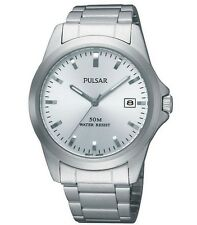Seiko Pulsar Watch * PXH845X Date Dial Silver Steel COD PayPal