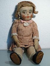 Alte Puppe aus Stoff mit seitlich blickenden großen Augen Typ Lenci verm.Italien