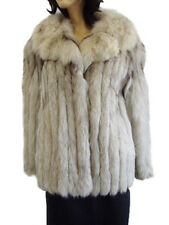 MINT NATURAL NORWEGIAN (BLUE) FOX FUR JACKET COAT WOMEN WOMAN SIZE 10 MEDIUM