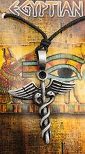 COLLIER PENDENTIF CADUCEE EN ETAIN -BIJOUX EGYPTE ANCIENNE- PROTECTION -6759-CA1