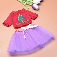 18 inch Handmade Dolls Red Sweater and Purple Dress Clothes For Barbie Dolls