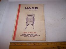 1935 HAAG BROS Washing Machine Instructions Parts & Price List PEORIA ILLINOIS