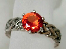 1.50ct orange padparadsha sapphire antique 925 sterling silver ring size 9 USA