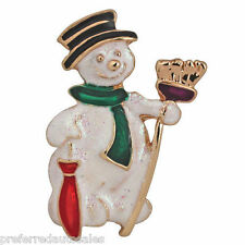 """Kirks Folly """"WELCOME WINTER SNOWMAN"""" Pin Brooch or Necklace - Christmas"""