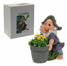 Very Large 42cm Appealing Garden Gnome With Flower Pot & Flowers