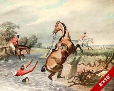 RIDER FALLING OFF HORSE FOX HUNT EQUESTRIAN HUNTING ART PAINTING CANVAS PRINT