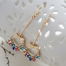 Shiny Colorful Rhinestone Crystal Bead Bow Bowknot Dangle Wreath Hook Earring