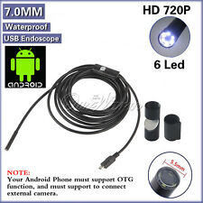 7mm Waterproof USB Inspection Camera Boroscope Snake Scope Endoscope 6 LED