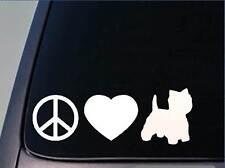 """Peace love Westie sticker *H123* 8"""" vinyl west highland white terrier"""