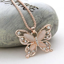 New Fashion Womens Lady Rose Gold Butterfly Pendant Necklace Sweater Chain