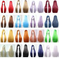 "40"" Anime Long Straight Heat Resistant Hair Full Wig Lolita Costume Cosplay Wigs"