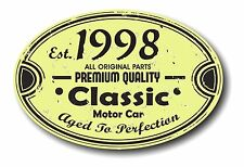 Retro Distressed Aged To Perfection Classic Oval 1998 Vintage Car sticker decal