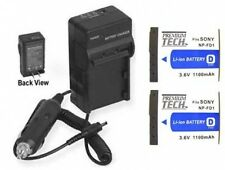 TWO 2 Batteries + Charger for Sony DSC-T70 DSC-T70/P DSC-T70/W DSC-T75 DSC-T77