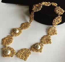 Exquisite Vintage Miriam Haskell Necklace~GoldTone Filigree/Baroque Pearl~Signed