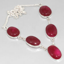 PX8305 GRACEFUL ! Ruby & 925 Silver Overlay Necklace 19""