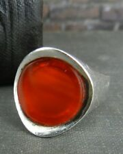 Israel Modernist Sterling Silver & Amber Colored Stone Ring - Size7.75