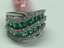 Singed JWBR 925 Sterling Silver Ring With Emerald and CZ Stones