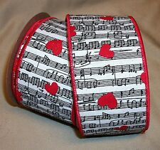 """10 yd. roll VALENTINE HEART MUSICAL NOTES WIRE EDGE COTTON RIBBON  2 1/2"""" W"""