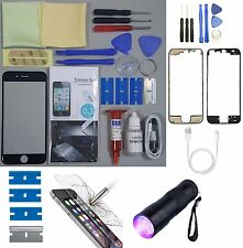Apple iPhone 6 Replacement Screen Front Glass Repair Kit BLACK UV TORCH + FRAME