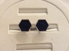 ALFRED DUNHILL CUFFLINKS SILVER AND LEATHER