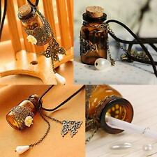 Vintage Butterfly Flower Pendant Wishing Glass Bottle Leather Necklace Handwork