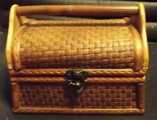 """Vntg Cigar Box Style WOODEN PURSE -Bamboo Weave & Solid Wood - 7.5""""W x 5.5""""H"""